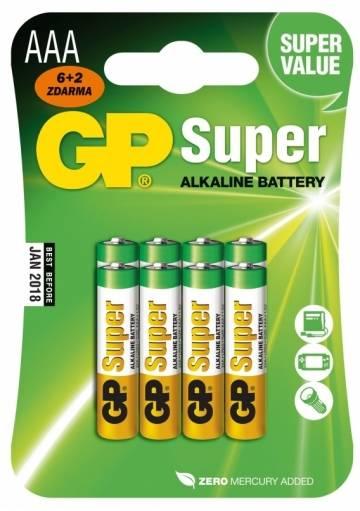 Batéria GP Super alkalická AAA / 8 ks