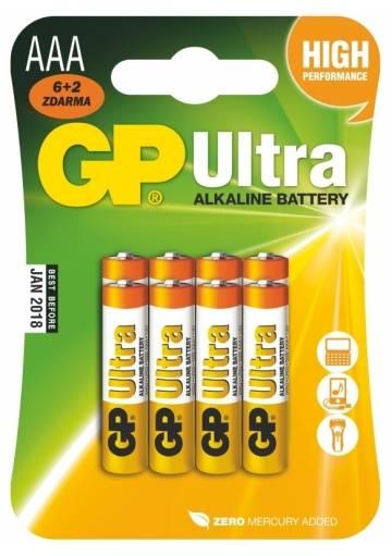 Batéria GP Ultra alkalická AAA / 8 ks
