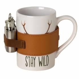 Porcelánový hrnček s ploskačkou Stay Wild