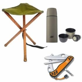Darčekový set 3 pre poľovníka - Trojnožka + Vreckový nôž + Termoska