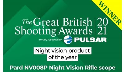 Veľký víťaz britskej ceny za streľbu 2021: Produkt roka, Nočné videnie Pard NV008P